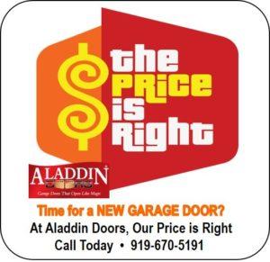 'price is right' for new garage door installation